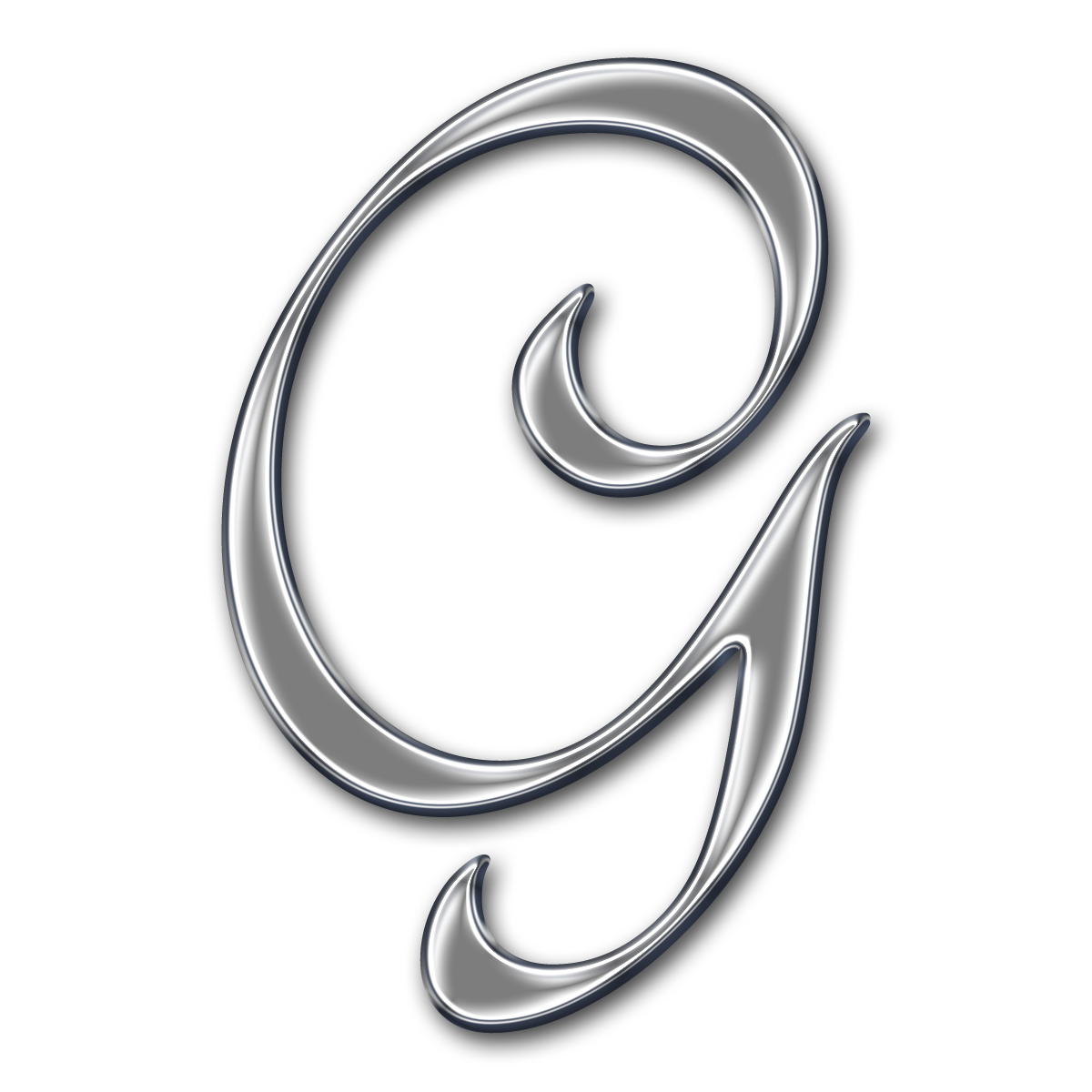 Capital Letter G Free chrome digi scrapbook Fancy Cursive Letter G