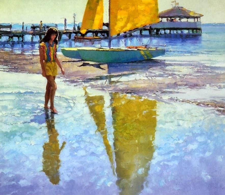 Cuadros Modernos Pinturas y Dibujos  Playa y Mar Paisajes con