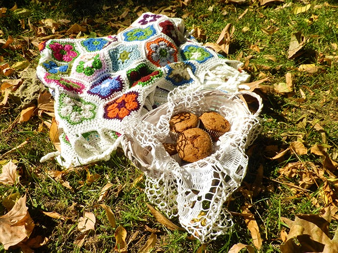 Hand crochet floral blanket