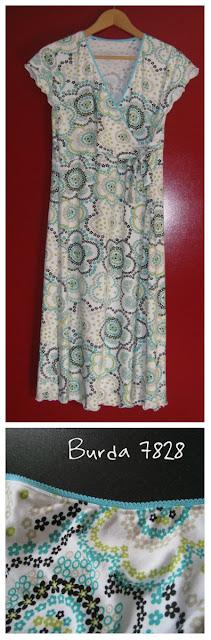Zelf gemaakt jurkje Burda 7828 met elastiek met smal randje kant afgezet