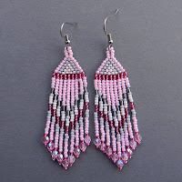 seed bead earrings pale pink beaded jewelry