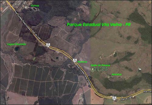 Mapa do Parque Estadual Vila Velha - Paraná