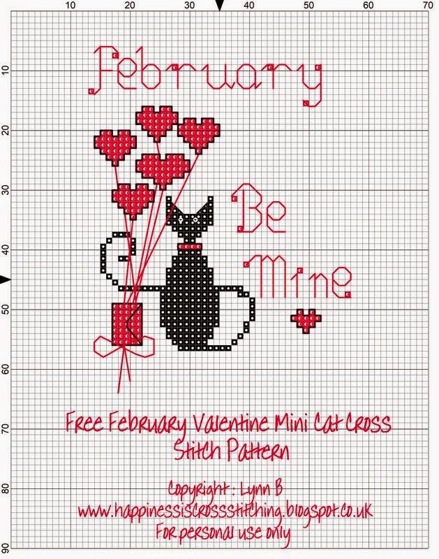 www.happinessiscrossstitch.blogspot.co.uk valentine mini cat cross stitch