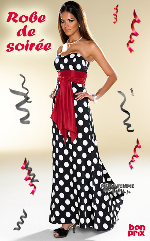 Robe bustier rouge a pois blanc