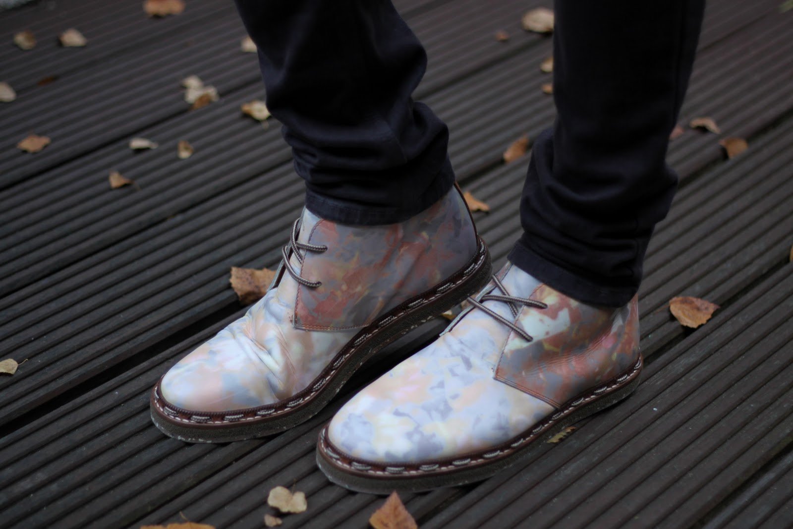 Steve Salter, SIX London and Farfetch collaboration shoes with autumn leaf print