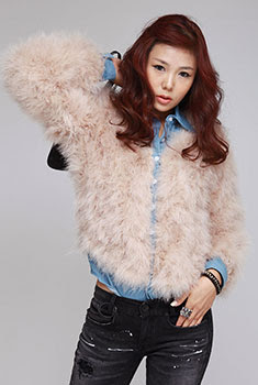 ostrich feather denim coat