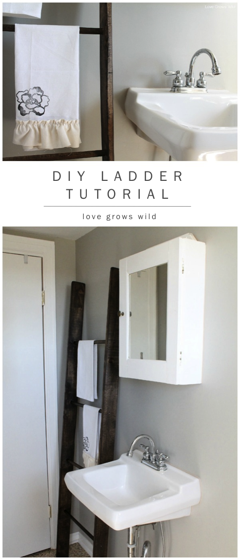 Learn how to make a DIY Decorative Ladder with this simple, step-by-step tutorial! This is a great piece of decor that will add tons of character to your room! at LoveGrowsWild.com #diy #ladder #decor