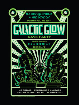 "San Diego Comic-Con 2015 Exclusive The Simpsons ""Galactic Glow"" Glow in the Dark Screen Print by Dark Ink Art"