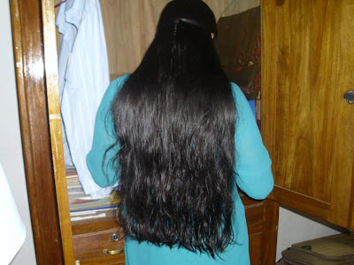 Very beautiful long and thick hair of Indian youth.