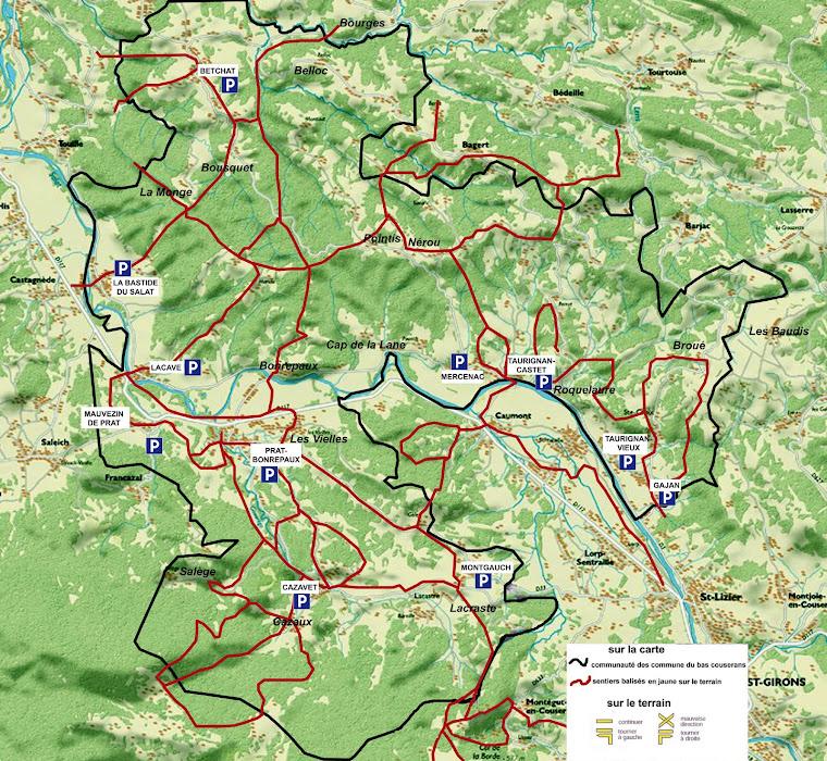 réseau des chemins balisés CC du Bas Couserans