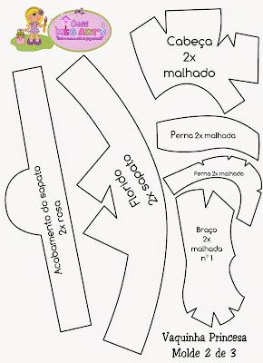 Moldes fofuchas - Molde fofucha vaca princesa