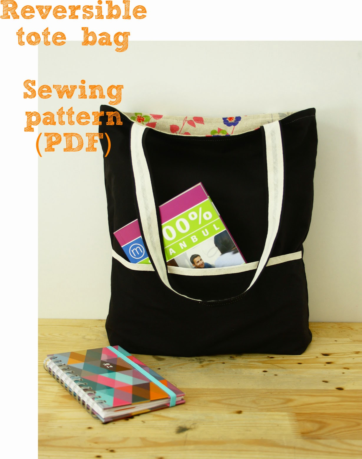 Reversible tote sewing pattern