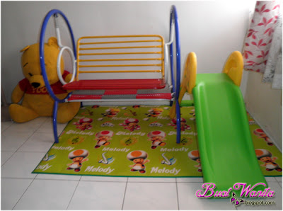 Indoor playground simple dirumah. Ruang permainan dirumah. Mini Slide, Mini Playground, Mini Swing for home.