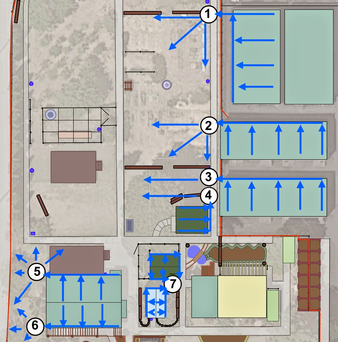 the blue arrows overlaid on the roofs of the various structures represent the slopes of these surfaces the general direction of water flow to gutters and