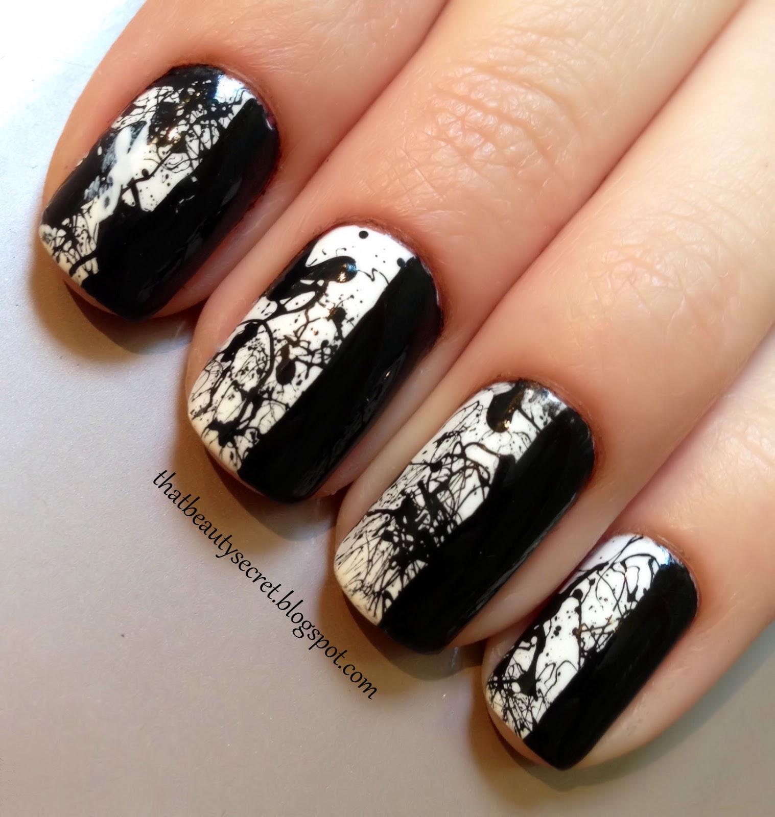 That beauty secret mani monday monochrome splatter this week i created a monochrome nail design with splatter this nail look may take a bit of patience and work but i think it was all worth it in the end prinsesfo Choice Image