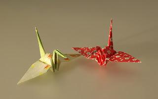طائر الكركي بفن الأوريجامي