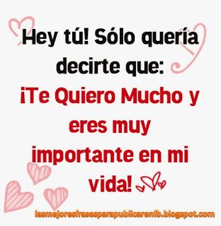 Frases De Amor: Hey Tu Sólo Quería Decirte Que Te Quiero Mucho Y Eres Muy Importante En Mi Vida