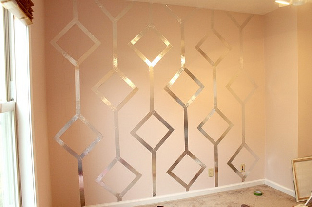 ilustrated wallpaper walls with diy metallic patterns