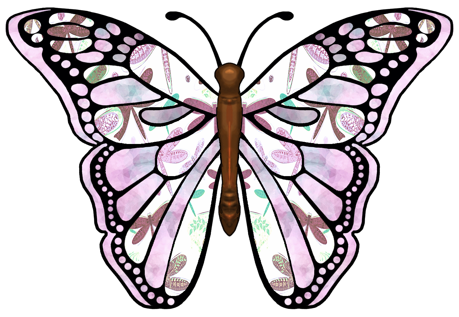 Artbyjean Butterflies Butterfly With Pink Brown And