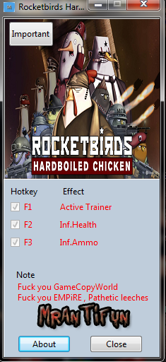 Rocketbirds Hardboiled Chicken V1.00 Trainer +2 MrAntiFun
