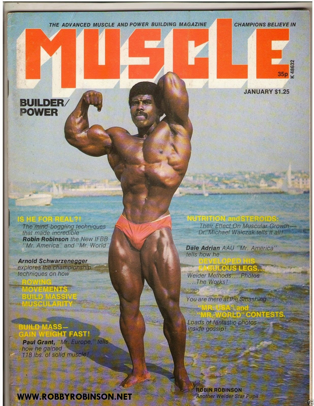 Robby Robinson Flexing on Muscle Beach Photo by Art Zeller for Robby's First Cover 1975 ● www.robbyrobinson.net/books.php ●