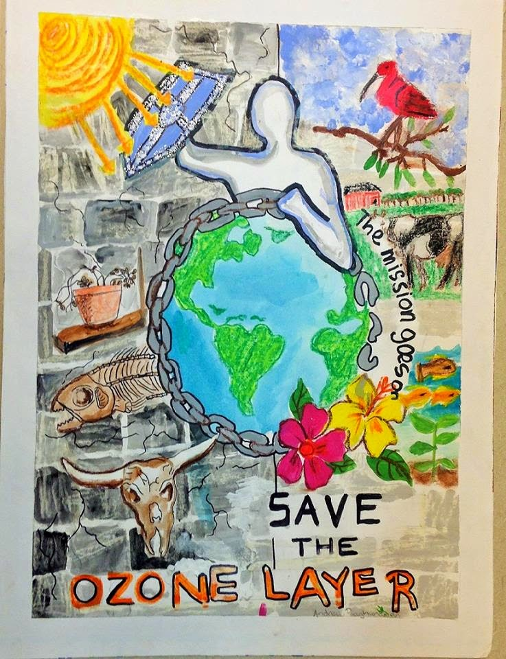 Green days by the eppd world ozone day poster competition for Making prints of paintings
