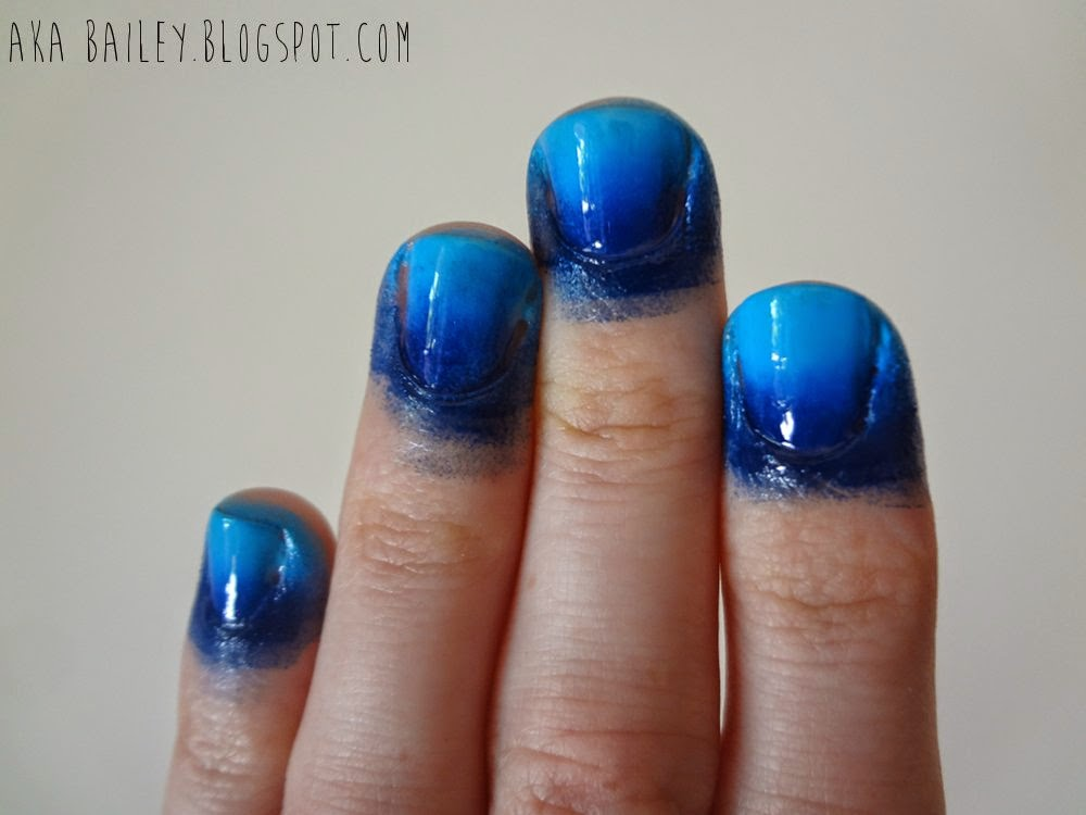 Blue ombre sponged on nails, pre clean-up