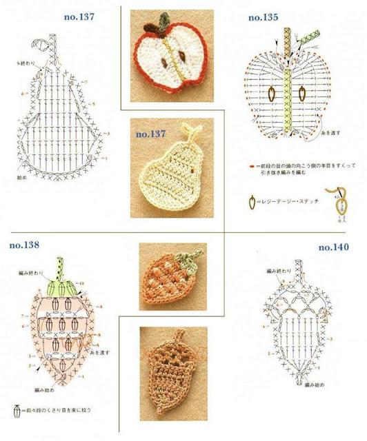 схемы фруктовых вязаных аппликаций