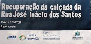 Recuperação da Calçada da Rua José Inácio.