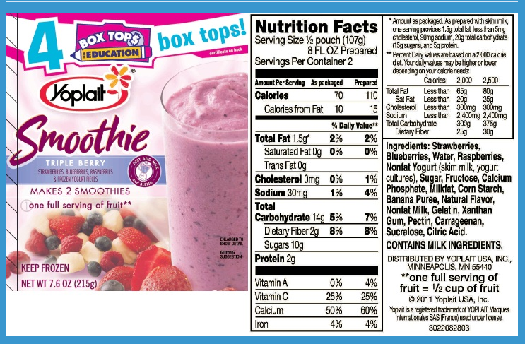 Yoplait Yogurt Nutrition Label Here is a label for theYoplait Yogurt Nutrition Label