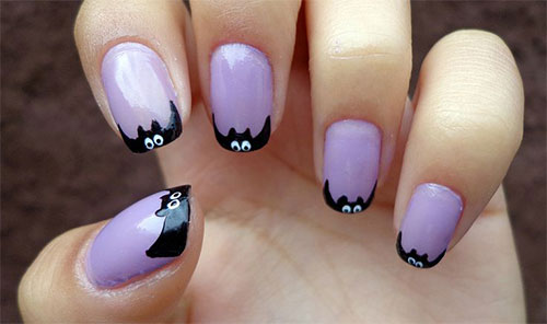 A little house on the hill and moon rising behind it, Perfect combo for a Halloween  nail art! - Easy To Do Halloween Nail Art Ideas