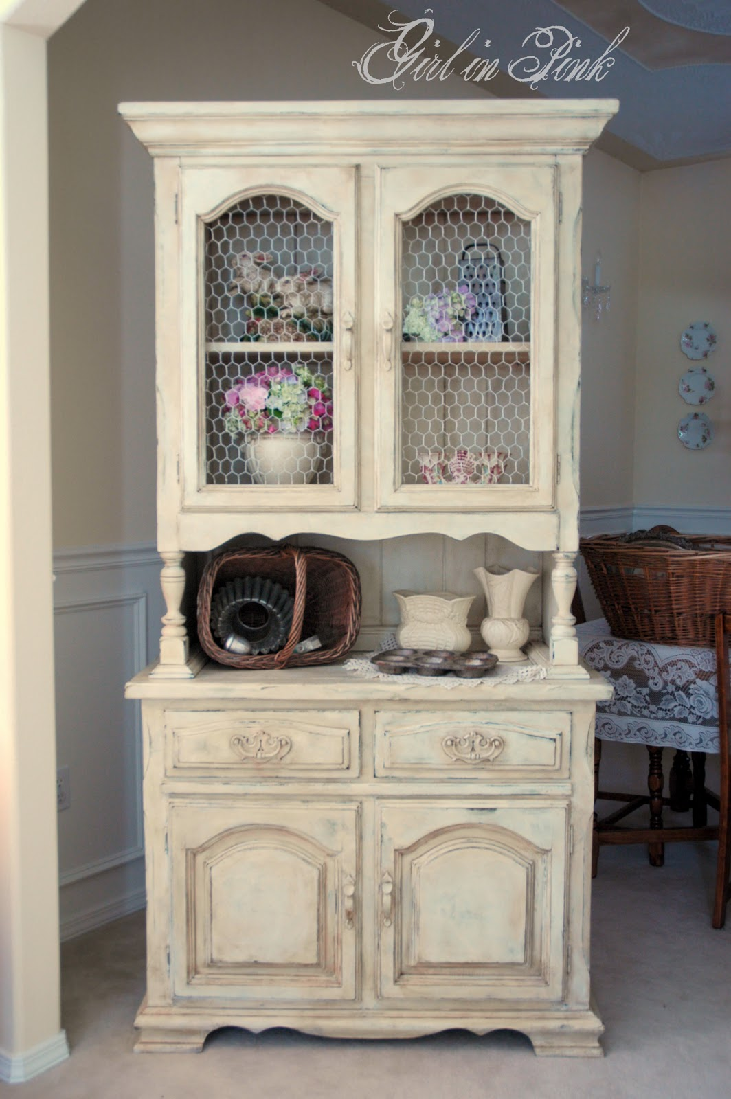 Girl in pink french country cottage cupboard for French country cottage decorating ideas