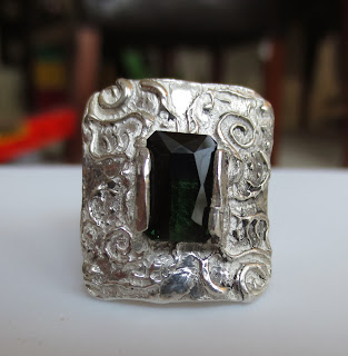 Metal clay ring with 3 carat green tourmaline ring for my sister is finally finished!