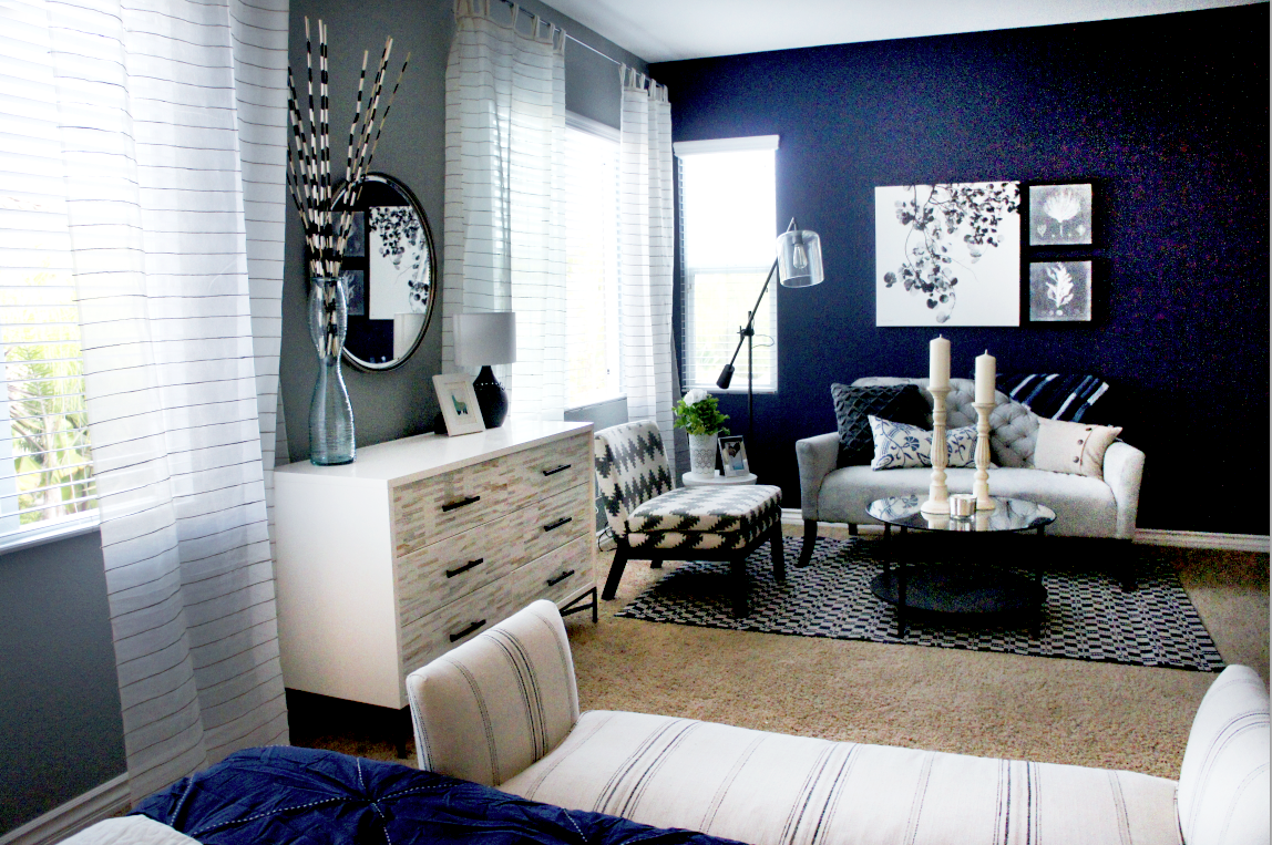 Navy blue bedroom curtains - Sheer White Curtains Dress The Side Wall And The Beige Stripes Compliment The Dresser As Well As The Bench And Lamps
