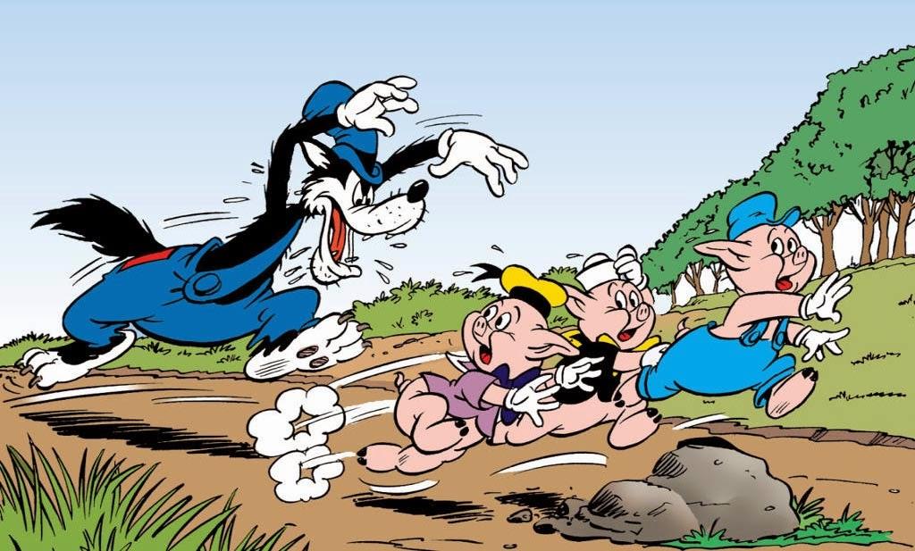 Dibujo Tres Cerditos y el Lobo Feroz Disney