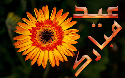 Yellow Sun Flower Eid-ul-Adha mubarak Cards Urdu Text