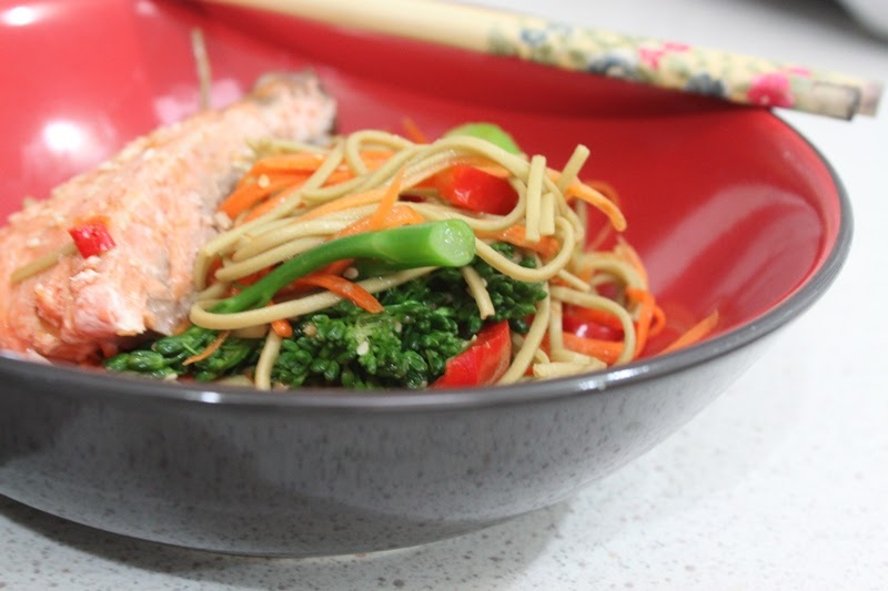 More than Words: Grilled Salmon with Ginger Soy Soba Noodles