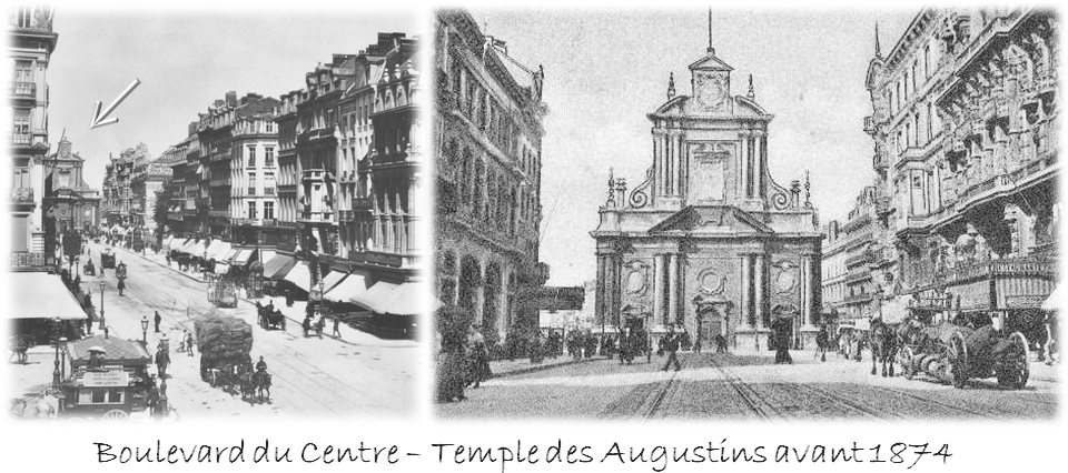 Boulevard du centre (Actuel boulevard Anspach) - Vue de la Bourse vers la future place de Brouckère encore occupée par le Temple des Augustins  (avant 1874) - Bruxelles-Bruxellons