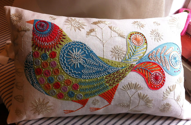 BLUEBIRD CUSHION made into panel 30 x 50 cm