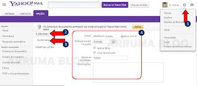 IMAGEM: Demonstração da tela de opções do Yahoo! Mail