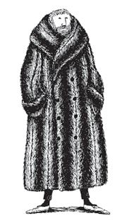Edward Gorey autorretrato con abrigo de piel