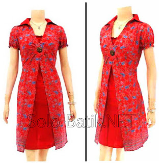 DB2971 - Model Baju Dress Batik Modern Terbaru 2013