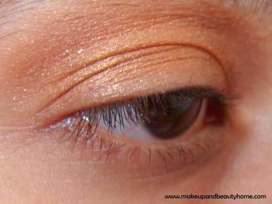 Shimmery Peach Faded Kajal Eye Makeup Look ~ Step by Step Photo Tutorial