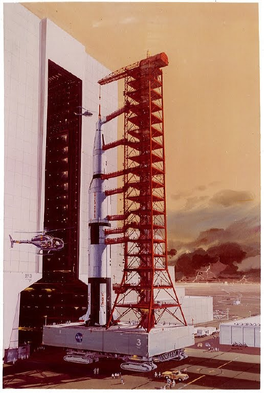 painting of rocket and service gantry on launch pad