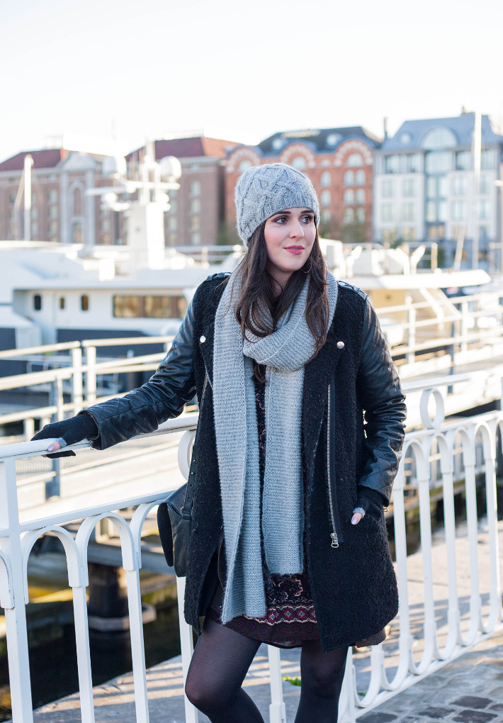 outfit: casual winter layers in matching grey scarf and hat