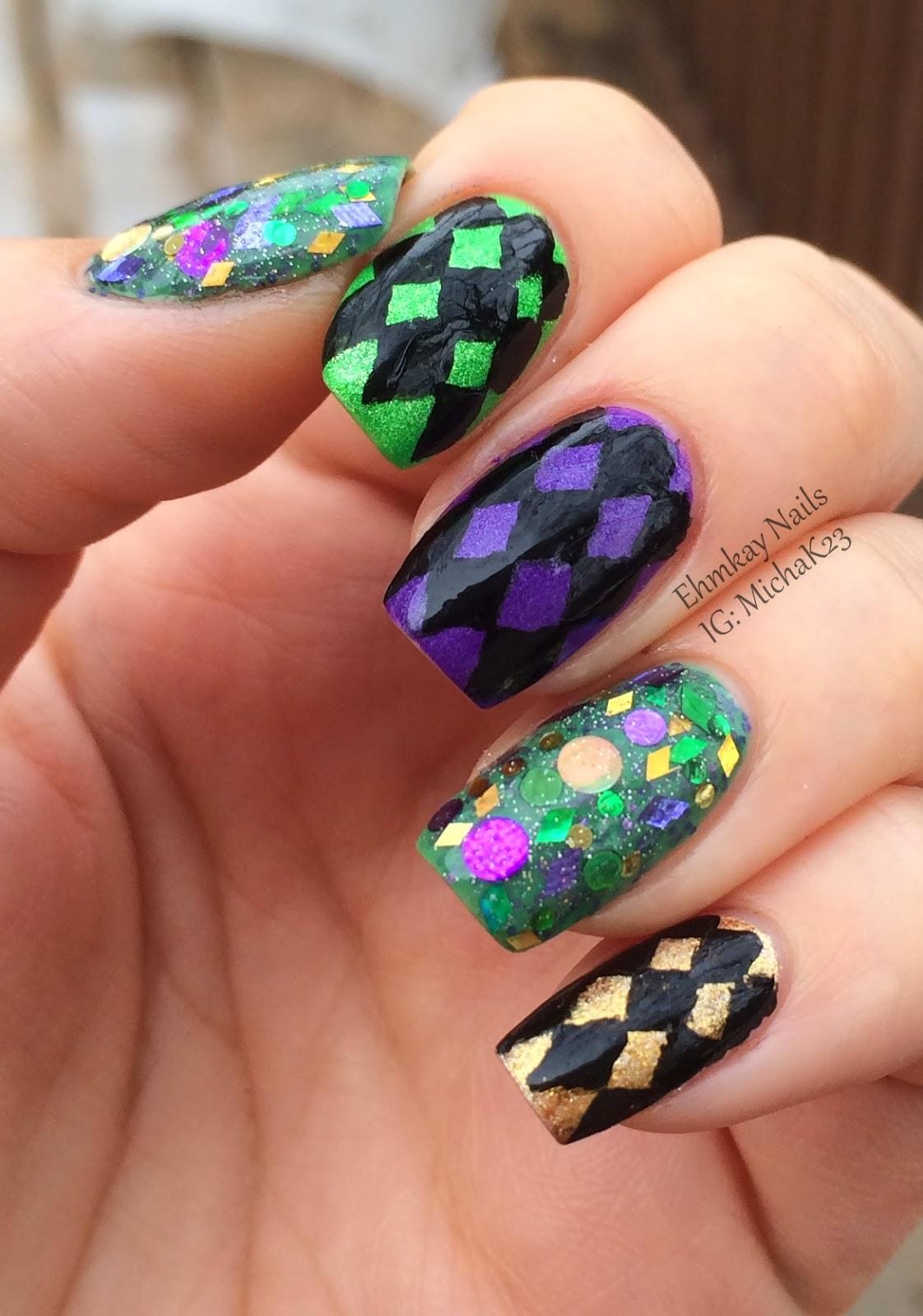 Funky Mardi Gras Nail Design Photos - Nail Art Ideas - morihati.com