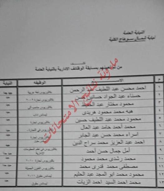 نتيجة المسابقة الخاصة بالوظائف الادارية بالنيابة العامة 2014 جميع المحافظات