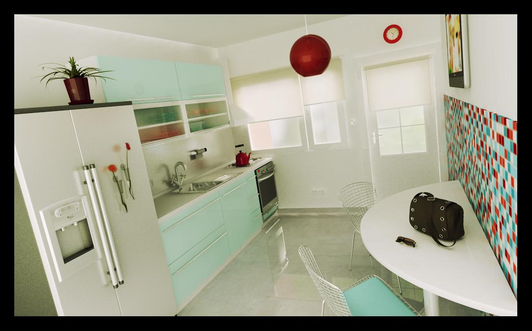 Naverender cocina con mosaico colorido - Cocinas con mosaico ...