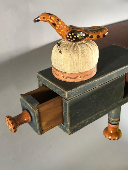 One Drawer Sewing Clamp with Greg Shooner Redware Pieces
