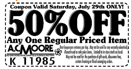 photo relating to Ac Moore Printable Coupon Blogspot called Printable discount coupons ac moore 50 off - Virgin broadband telephone specials